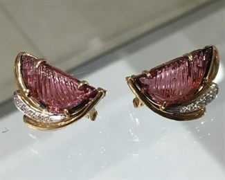 Gold Earrings with diamonds and Pink Tourmaline