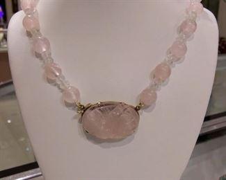 Rose Quartz Necklace in Gold Clasp