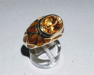 Citrine and Enamel Ring in Gold