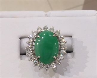 Jade and Diamond Ring in Gold
