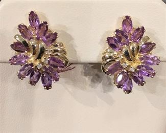 Amethyst in Gold Earrings