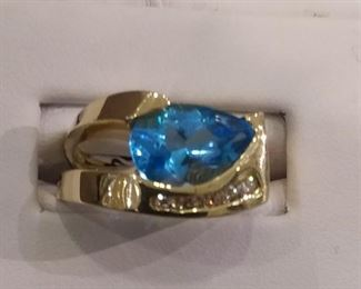Blue Topaz and Diamond Ring in Gold