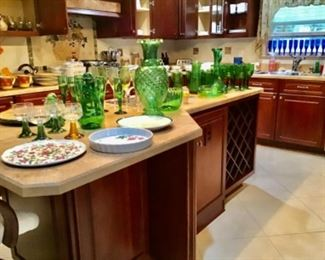 Kitchen, beautiful green and blue glass, 3 sets of dishes