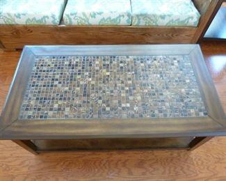 Top of Craftman tile coffee table.