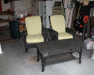 Wicker chairs with matching coffee table