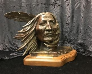 Tishimingo by Pat Ray Castleberry, 20th century bronze artist. Signed and numbered 7/20. Native American bronze
