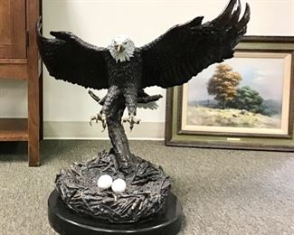 Eagles nest by Donna Hunter. Impressive bronze sculpture. Handcrafted and mounted on marble base. 23 inch wingspan 21 inches tall. Certificate of Authenticity included.