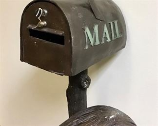 Picking up the mail with his best friend! Actual working mailbox with lock and key. Solid bronze.