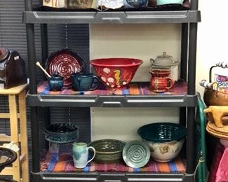 Hand thrown pottery including Santa Rosa Pottery, Luling Icehouse Pottery, Holman etc