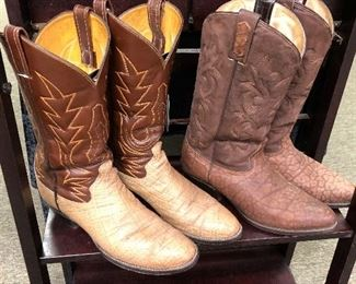 MEN'S BOOTS Sizes 10 – 10-1/2, most handmade.  Crocodile, Alligator, Caiman Belly, Ostrich, Hornback Lizard, Stingray, Elephant, Sharkskin, Cape Buffalo, Argentine Riding Boots.