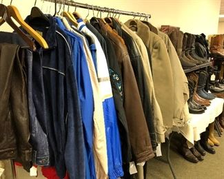 Men's coats  including London Fog andJoseph Abboud. Leather and suede jackets. Vintage OP and Izod Lacoste wind breakers. Men's vintage leather pants.