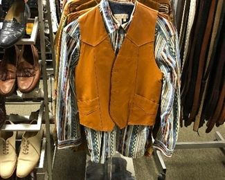 Tony Lama leather vest. The Territory Ahead and King Ranch  western shirts.