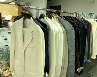 Men's suits, tuxedos and sports coats and cashmere sweaters.
