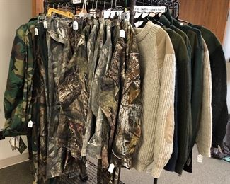 Sports/Camo/Hunting, many new/unworn.  Orvis, Cabela's, George Stafford, Travel Smith, Wooleyback, Red Head, Magellan, Columbia, Mossy Oaks, The North Face, Pendleton, Woolrich Willis & Geiger, Boyt, Thomas Cook, Filson