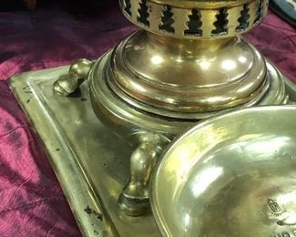 Brass and copper Russian Samovar set. Hoof feet