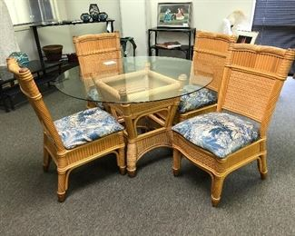 Bamboo glass top table with 4 batik upholstered chairs