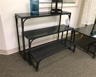Restoration Hardware iron and glass nesting tables.