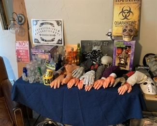 Bloody hands and spooky bottles