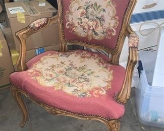 French armchair with petite-point upholstery