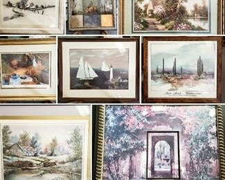 Over 50 pieces of framed and ungrateful artwork in so many different styles and eras