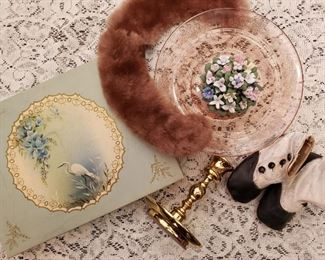 Antique and Vintage Plates , Brass candlesticks and collectibles