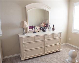 8 Drawer Dresser with Mirror  Off White Finish