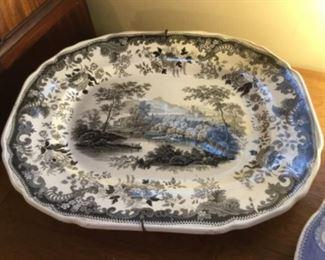 English ironstone  black & White platter