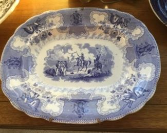 English ironstone blue & white platter