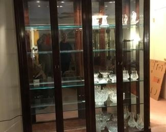 "#8 PULASKI large curio cabinet flanked by columns 66""L x 16""D x 83""T $595"