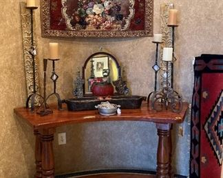 Rose wood entry table Wrought iron candle sticks Tapestry
