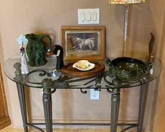 Glass top entry table
