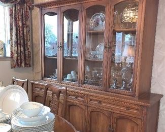 Lighted dining room hutch with matching dining room table