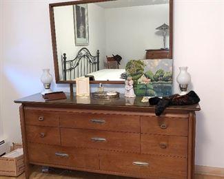 Drexel Mid Century Modern bed room set - Dresser w/mirror, Tall Boy dresser and night stand- all w/glass tops