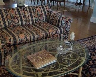 Sofa & glass top metal coffee table