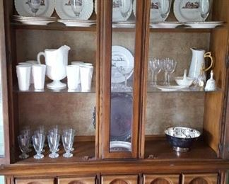 Nice large china cabinet and milk glass