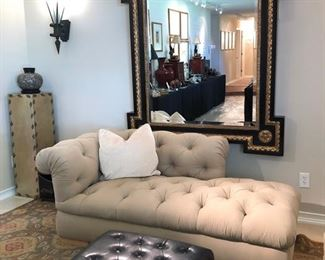 A pair Of Tufted Mirror Image Chaise High End Lounges in a handsome finely brushed khaki twill.. French Neoclassical Monument Style Scallop Shell Mirror in Black & Gold..