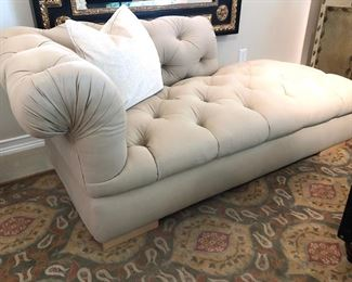 A pair Of Tufted Mirror Image Chaise High End Lounges in a handsome finely brushed khaki twill..