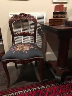 Victorian Chair with Blue Needlepoint Seat