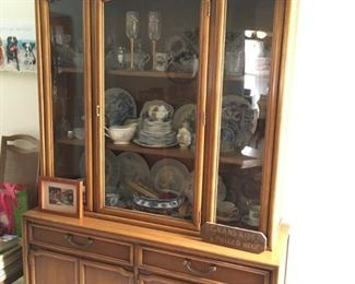 . . . retro china cabinet -- has matching table and four chairs -- notice it is filled with treasures!