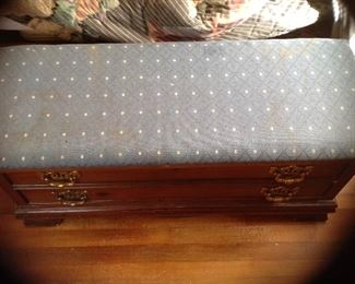 Lane cedar chest with upholstery top