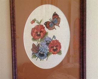 Framed and matted cross stitch