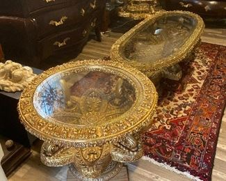 Amazing hand carved glass top tables, oval coffee table and two round side tables
