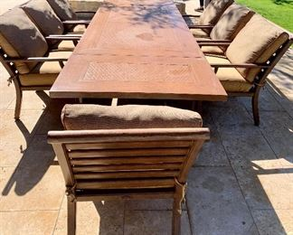 """Castelle-  Rectangular Extension Dining Table with Woven Cast Top. 136"""" x 44"""".  Main table is 84""""  with (2) 26"""" extensions. Hand crafted Cast Aluminum.  8 Deep Seating Sling Dining Chairs- Sunbrella fabric"""
