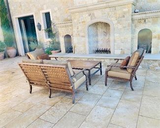 """Castelle Love Seat (1)  Lounge Chairs (2) and rectangular coffee table with woven top -32"""" x 48"""" - Sunbrella fabric"""