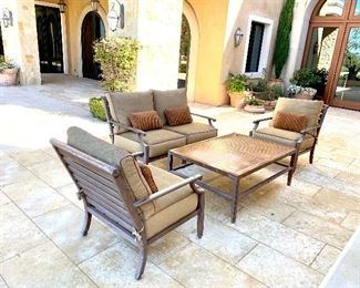 """Castelle Love Seat (1)  Lounge Chairs (2) and rectangular coffee table with woven top -32"""" x 48"""""""