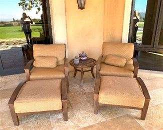 """Castelle Lounge Chairs and Ottomans - Sunbrella Fabric and 24"""" diameter Castelle table with Madera Top"""