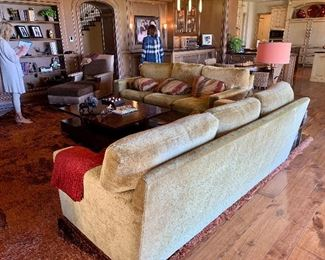 Custom made and upholstered 8' long sofas- (2)