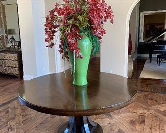 "Custom wood entry table 72"" diameter x 34"" high. Espresso finish"