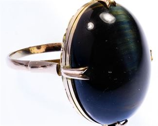 14k Gold and Cats Eye Tourmaline Ring