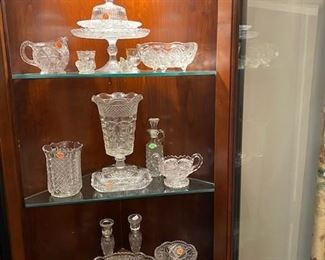 Variety of antique crystal pieces here.